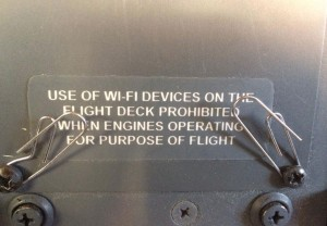 Cockpit placard disallowing Wi-Fi