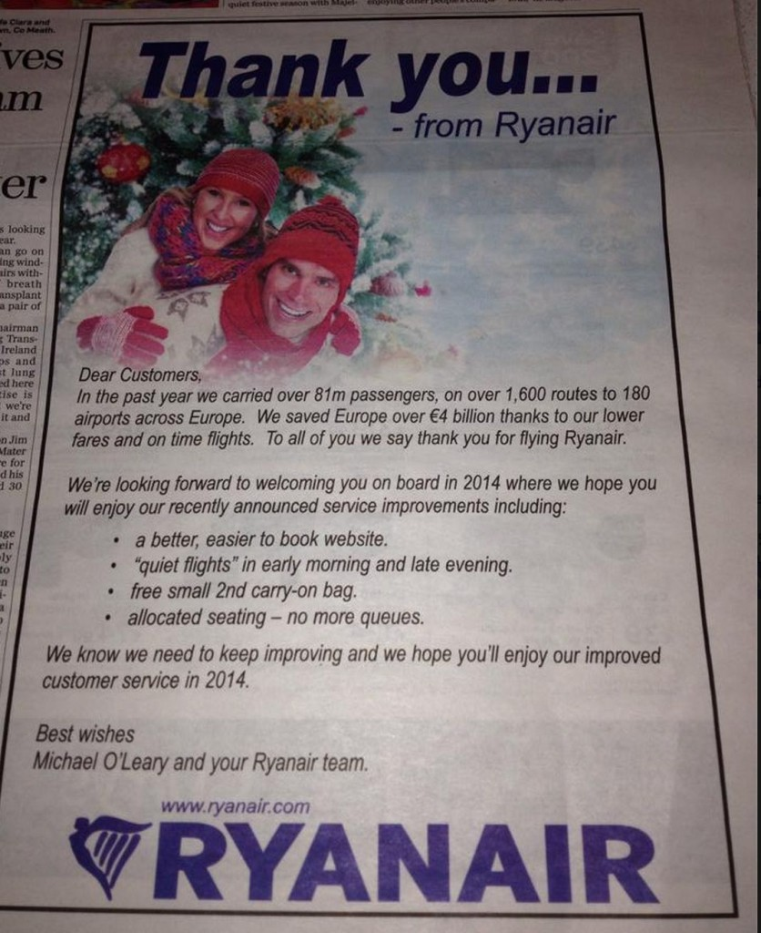 Ryanair advert