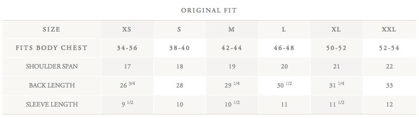 Brooks Brothers measurements
