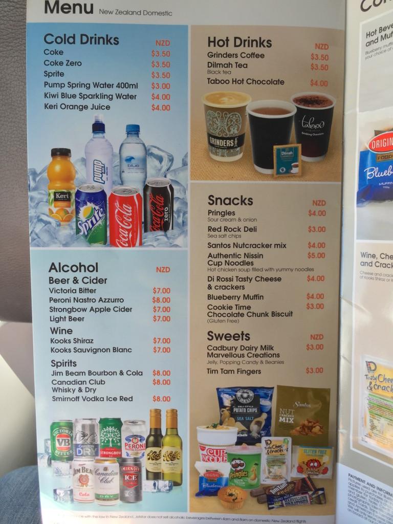 Jetstar F&B menu