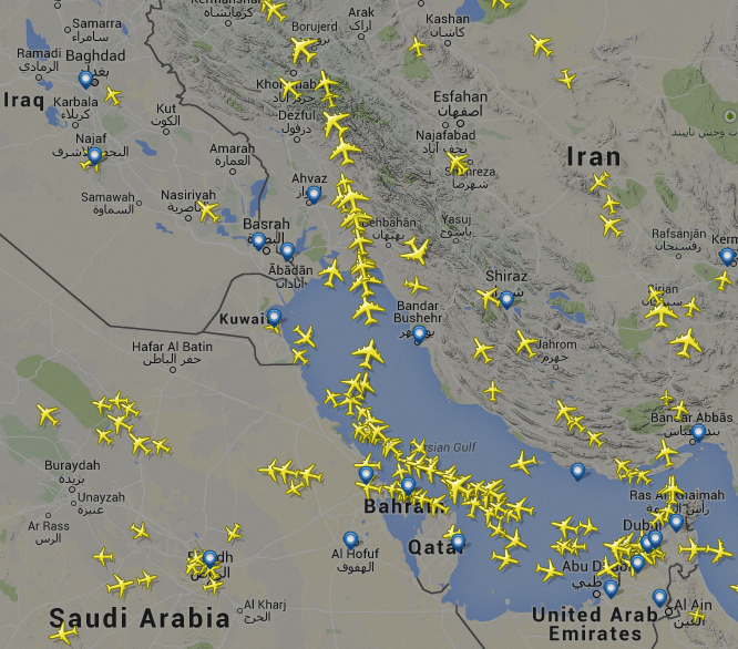 The A380 conga line around Iraq is obvious in mid-morning local time. Image - FlightRadar24