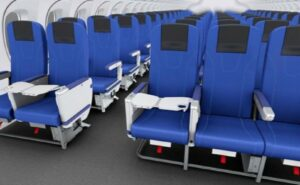 Blue Toyota seats 2-3 configuration.