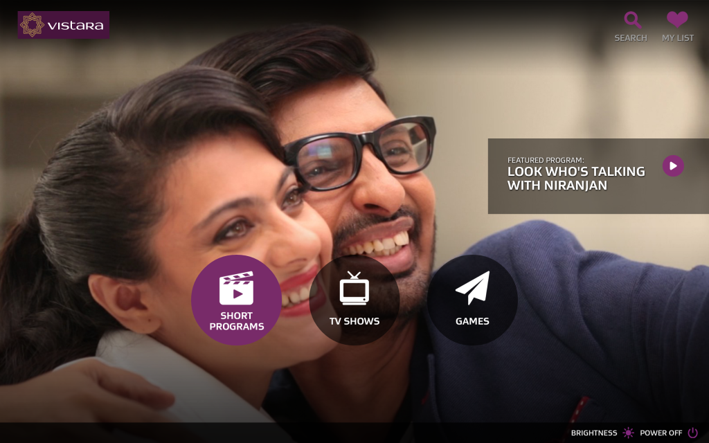 Vistara Home Screen