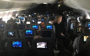Seatback IFE screens on board a widebody