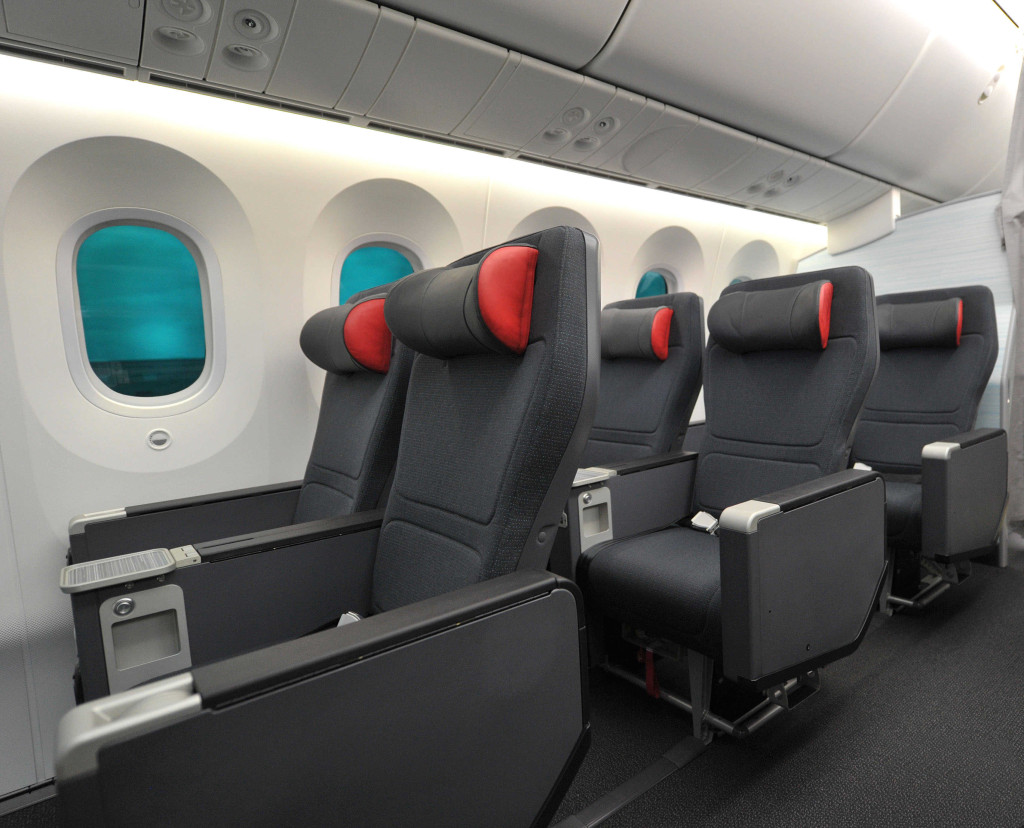 The new Premium rouge seats fall roughly in line with Air Canada's international premium economy seats on its 787 Dreamliner fleet