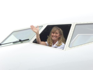 United Captain Kimberly Noakes prepares for the all-women delivery flight