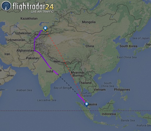 A recent Air Astana flight from Astana to Kuala Lumpur demonstrates the route taken vs the Great Circle route