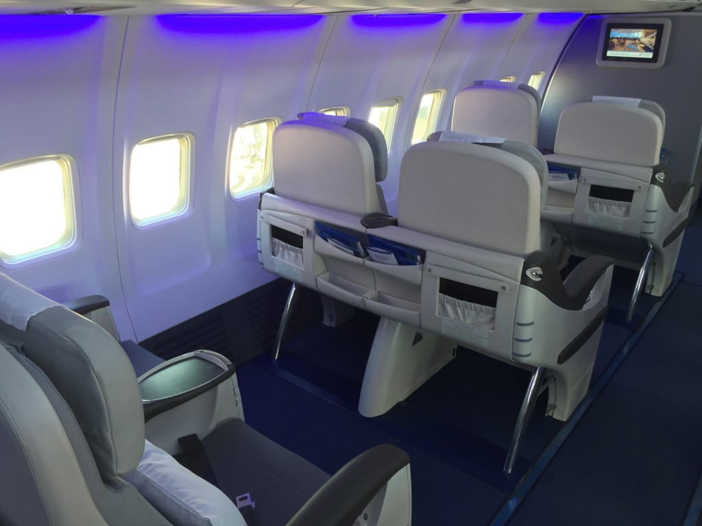 Air Astana Boeing 757 business class cabin --JW