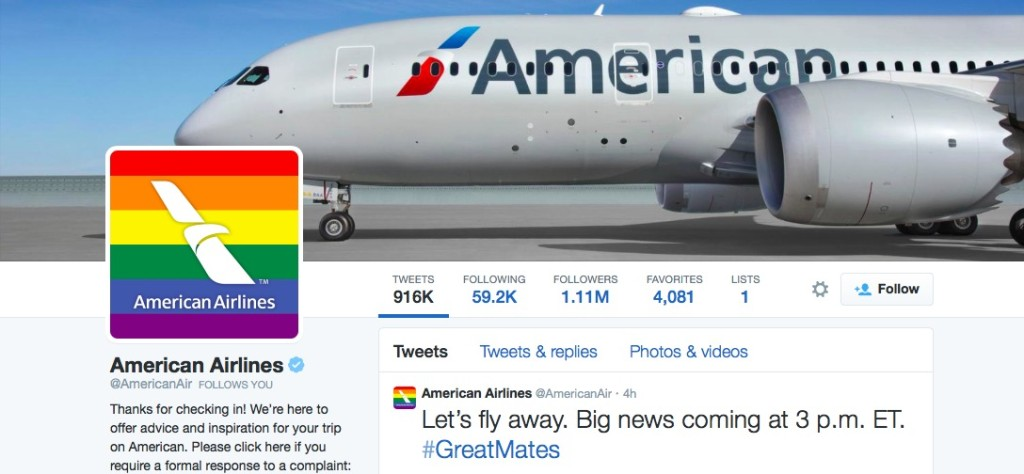 American Airlines' Twitter image recently turned rainbow for the June Pride season.