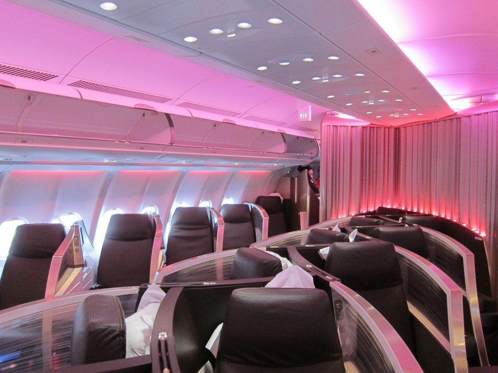 Virgin Atlantic's A330 aircraft have no overhead bins in the centre section of business class --JW