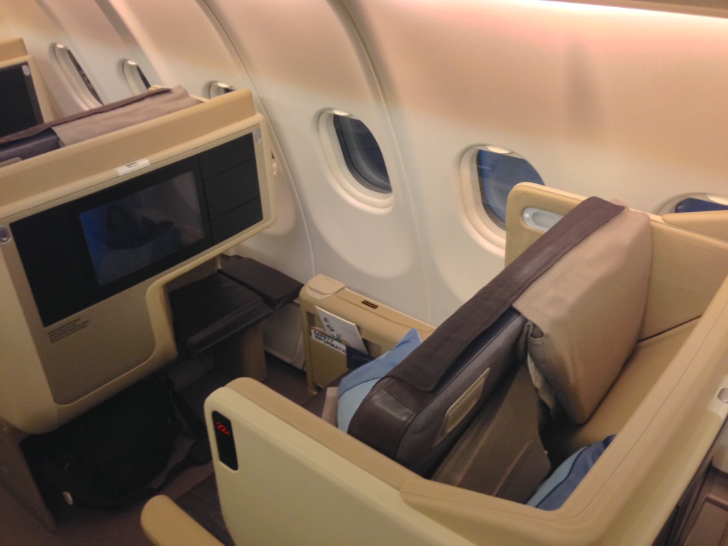 A fully flat bed with direct aisle access is a must for an eighteen-hour flight