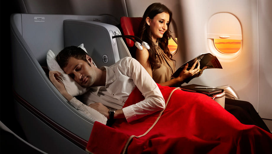 AirAsia X offers Premium Flatbed angle flat seats at the front of its widebody aircraft