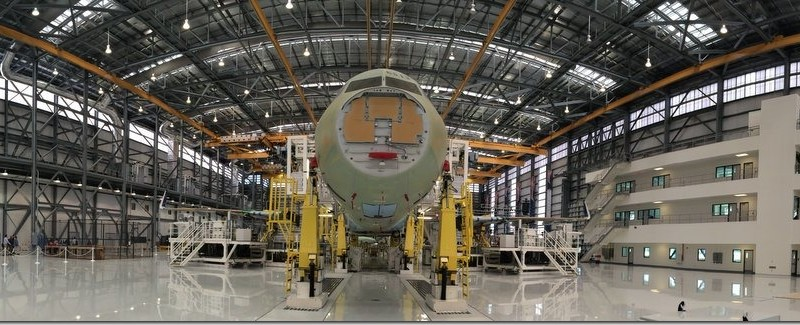 On the floor of the Airbus Final Assembly Line in Mobile, Alabama
