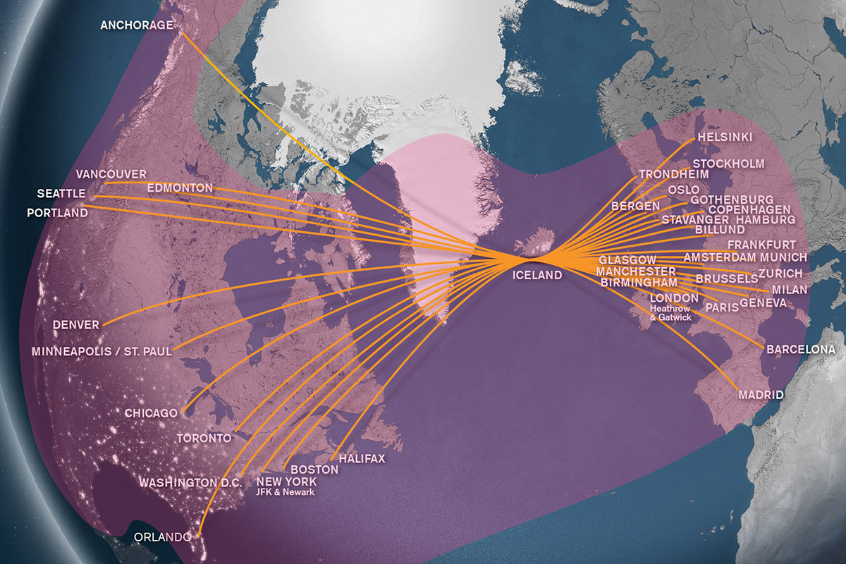 Icelandair routemap with Row44 coverage overlay