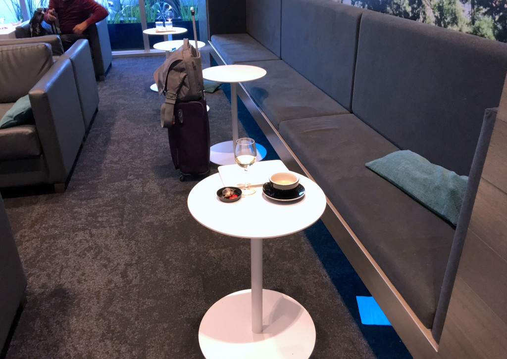 A choice of comfy seating areas with tables where you can use a laptop_ Sold!
