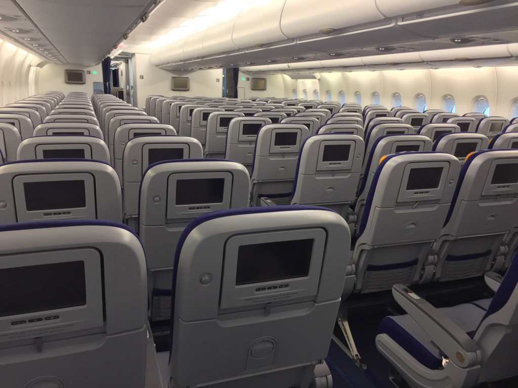 Lufthansa's main economy cabin downstairs hasn't really changed