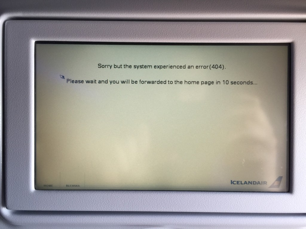 This was my experience with the Thales IFE screens for almost the whole flight from Keflavik to Dulles