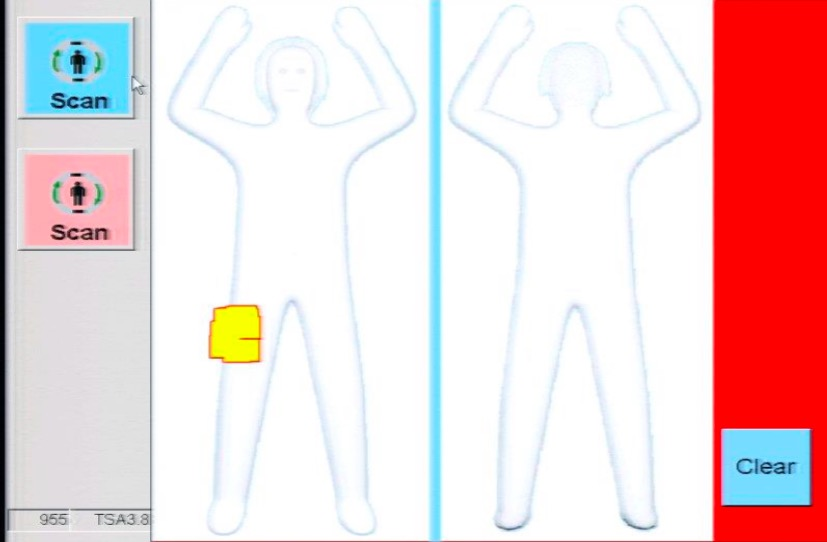 The TSA's scanners really do come with a blue-for-boy, pink-for-girl gender picker. Image - TSA