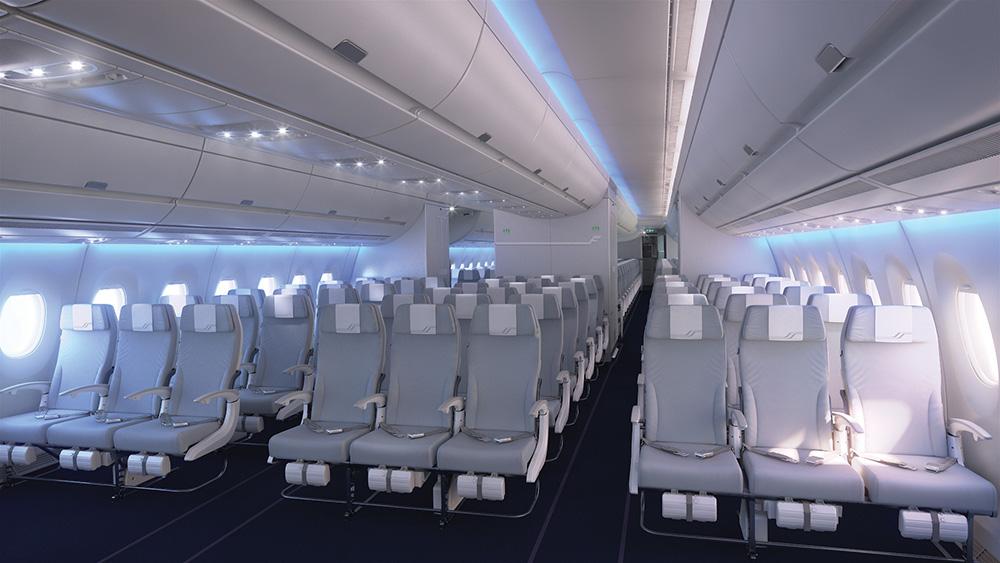 Finnair A350 XWB Economy Class Cabin 01 cruise LR