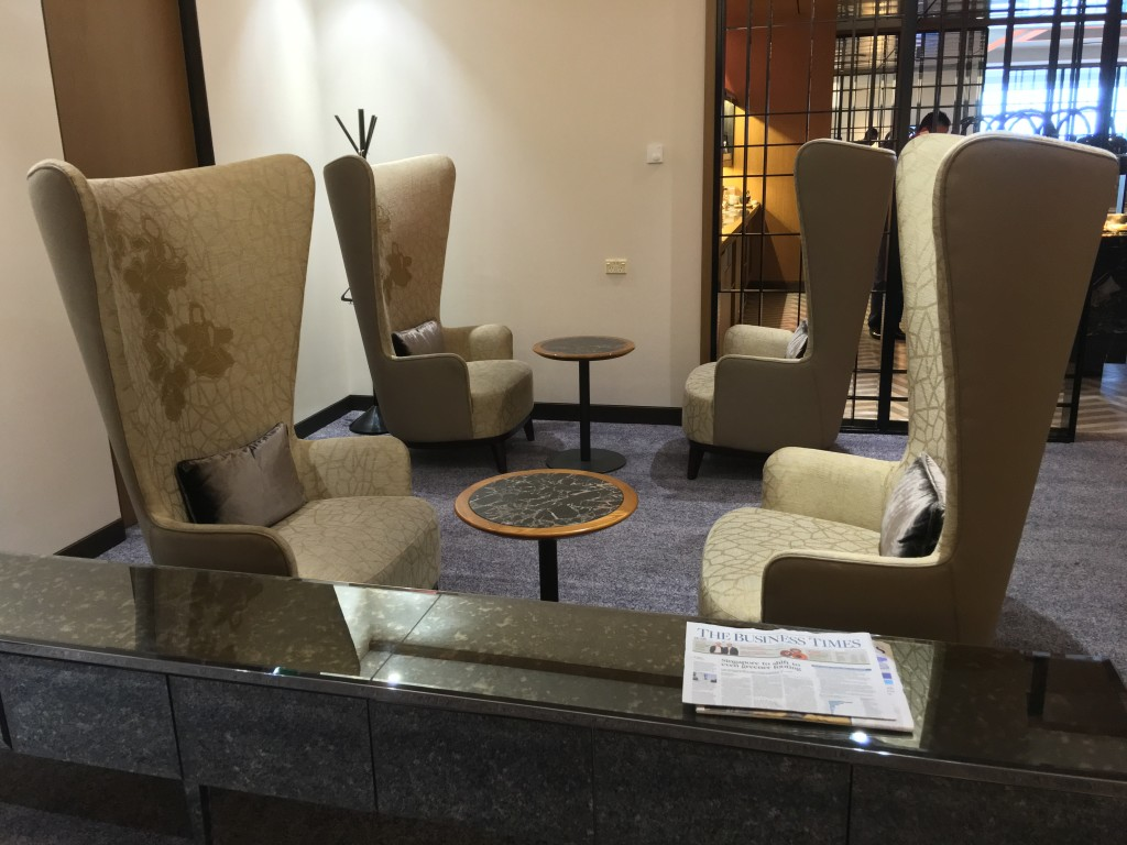 SQ's signature high-backed chairs shout Singapore Airlines