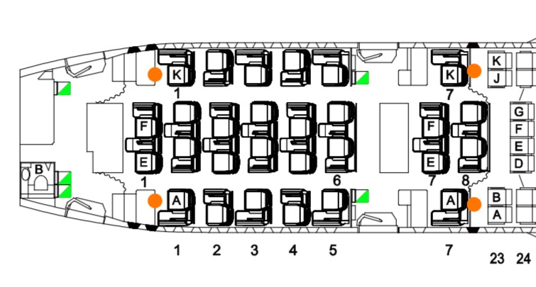 Only four of the twenty eight seats on the A330-200 are any good. Seat map - Qantas