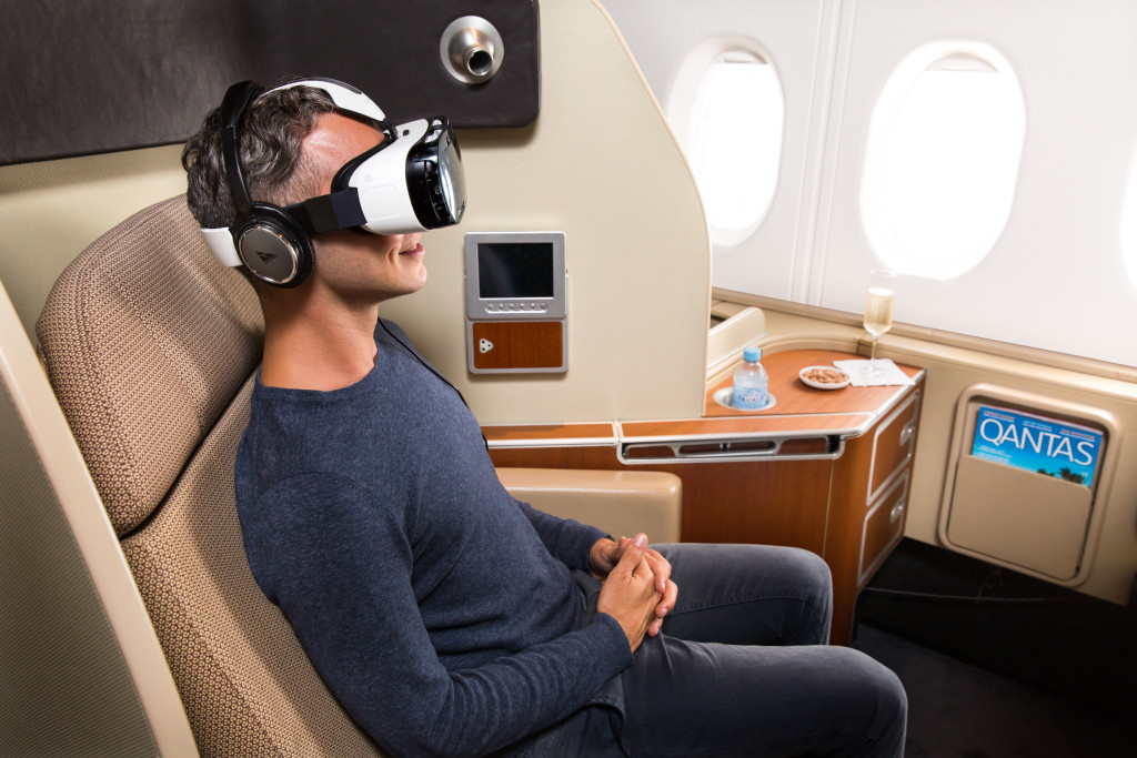 Qantas' virtual reality headsets debuted on selected first class