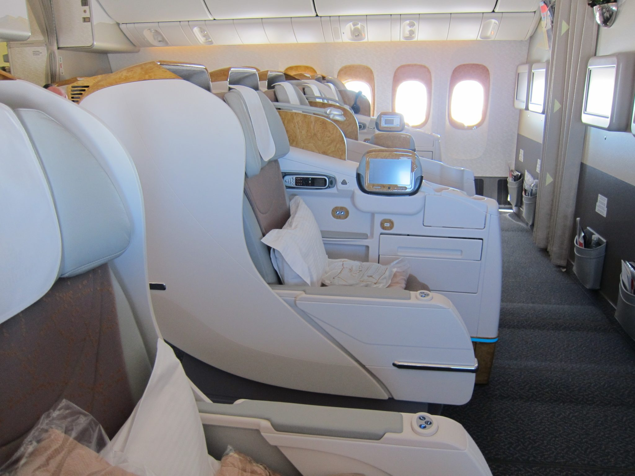 Emirates' existing angled lie-flat product is pitched at 72 — where is the extra room for fully flat