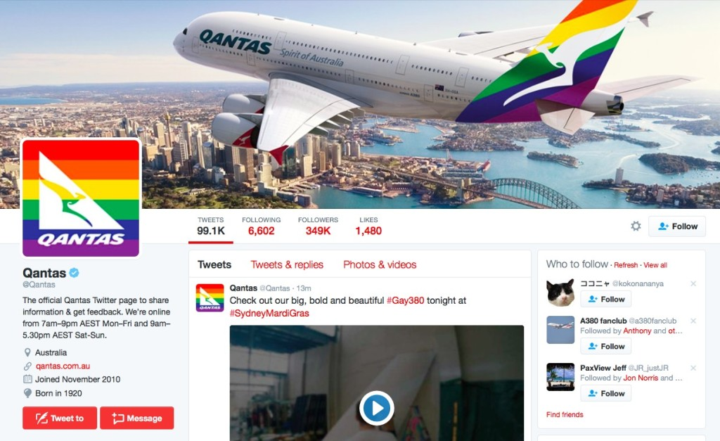 Qantas is going all out in its support for Sydney Mardi Gras.
