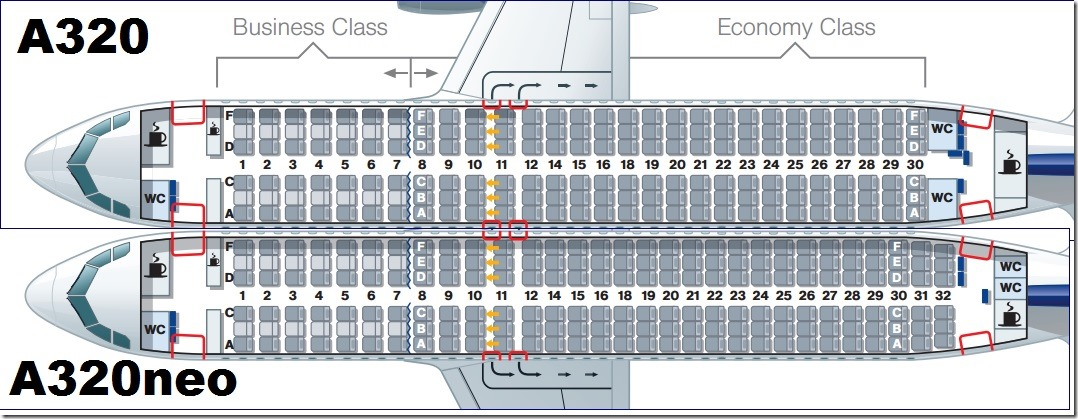 comparing the lufthansa a320neo layout to the prior version shows the crunch passengers can expect at the rear of the plane.