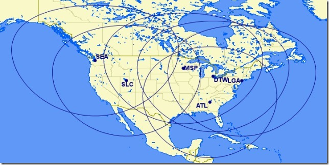 Coverage area of the CS100 at 100nm based on Delta's US hubs; plenty of coverage and barely getting in to the capabilities of the type
