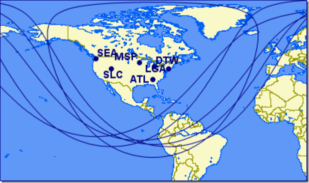 Looking at the coverage area of the CS100 based on Delta's US hubs; lots of places likely to never see service.