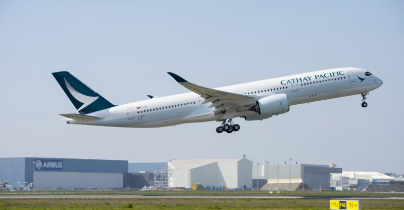 An airborne Airbus A350 in Cathay's livery