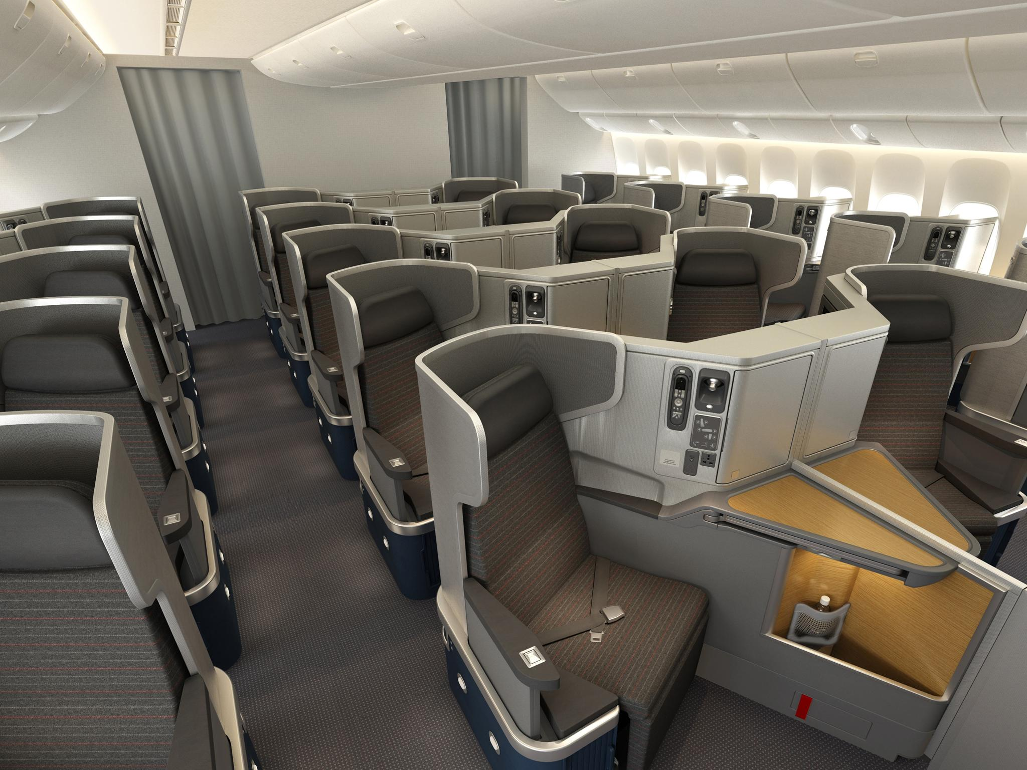 American's very competitive 777-300ER business class was extensively customised by Cathay Pacific. Image: American Airlines