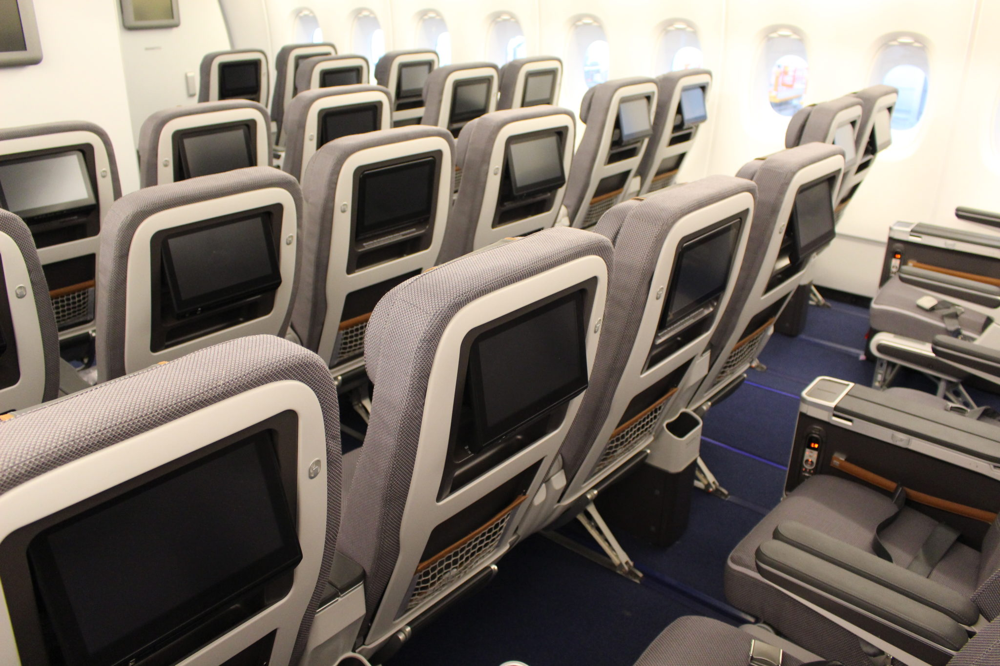 Lufthansa's A380 premium economy sits at the front of the lower deck, a quiet and exclusive spot where other airlines have their first class cabin. Image: John Walton