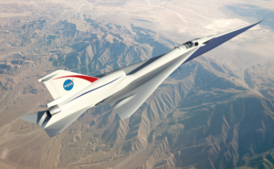 Supersonic Jet Artist Impression over mountain area