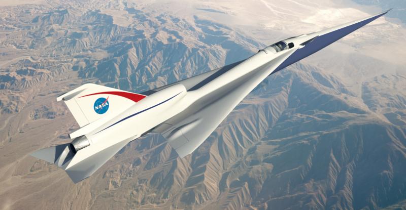 Supersonic Jet Artist Impression over mountain area