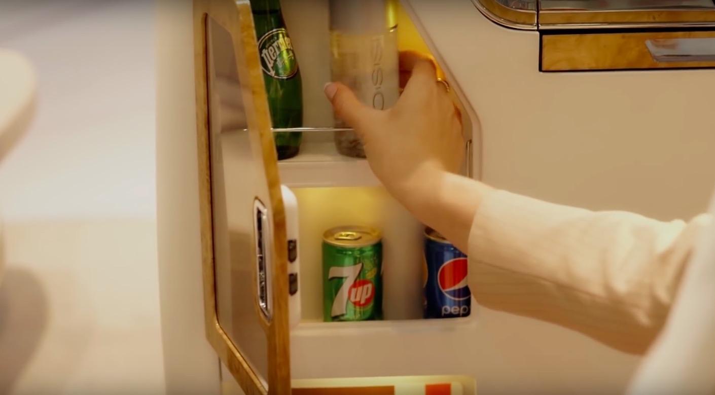 The minibar is nice, if you like warm Pepsi on board, or if you stash them away for later. Image: Emirates