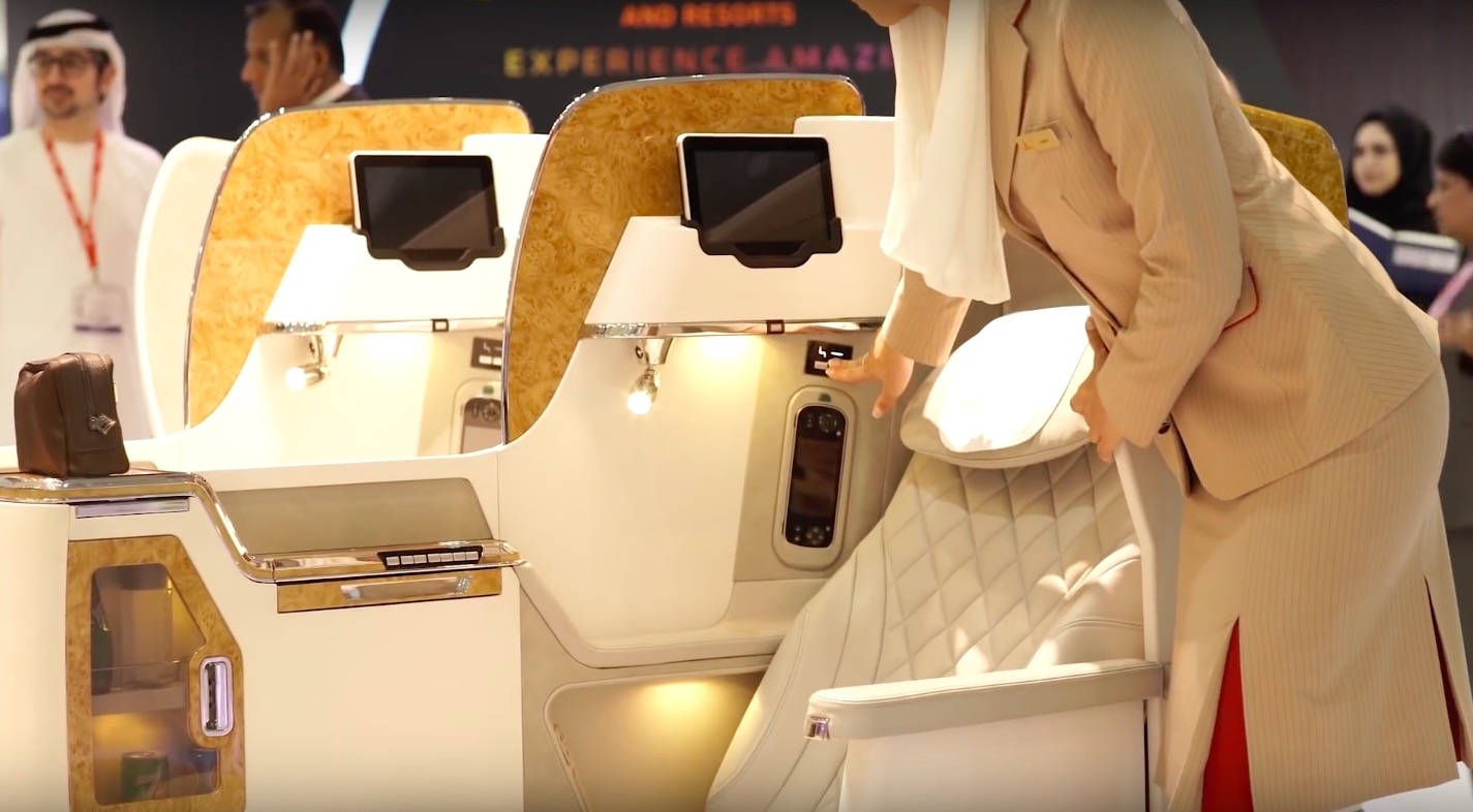 While Emirates' seat goes fully flat, it doesn't offer direct aisle access. Image: Emirates