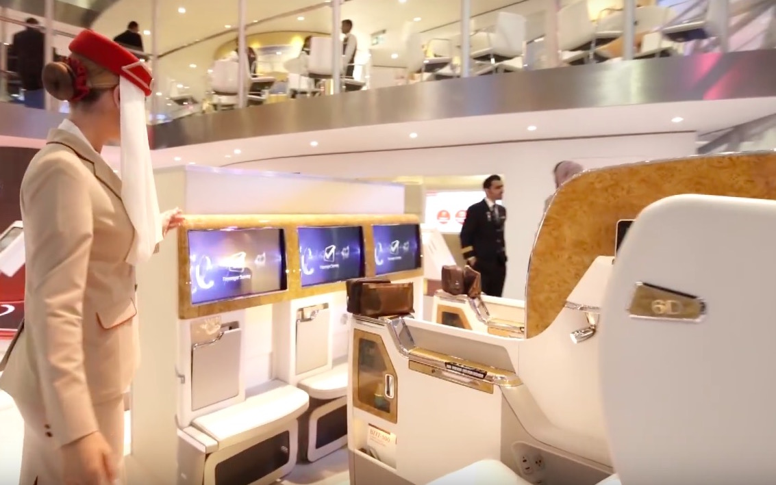 """With three seats abreast in the centre, there are questions about how much of a disturbance those 23"""" screens will be. Image: Emirates"""