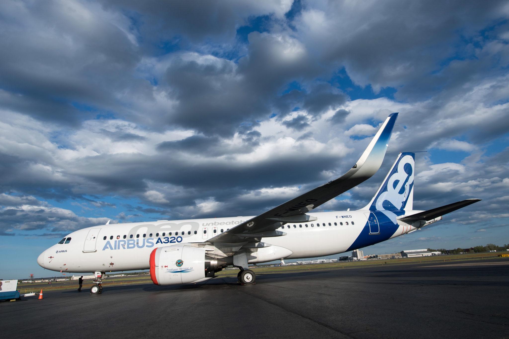 Airbus 320NEO with PW1100G-JM engine. Image: Pratt & Whitney