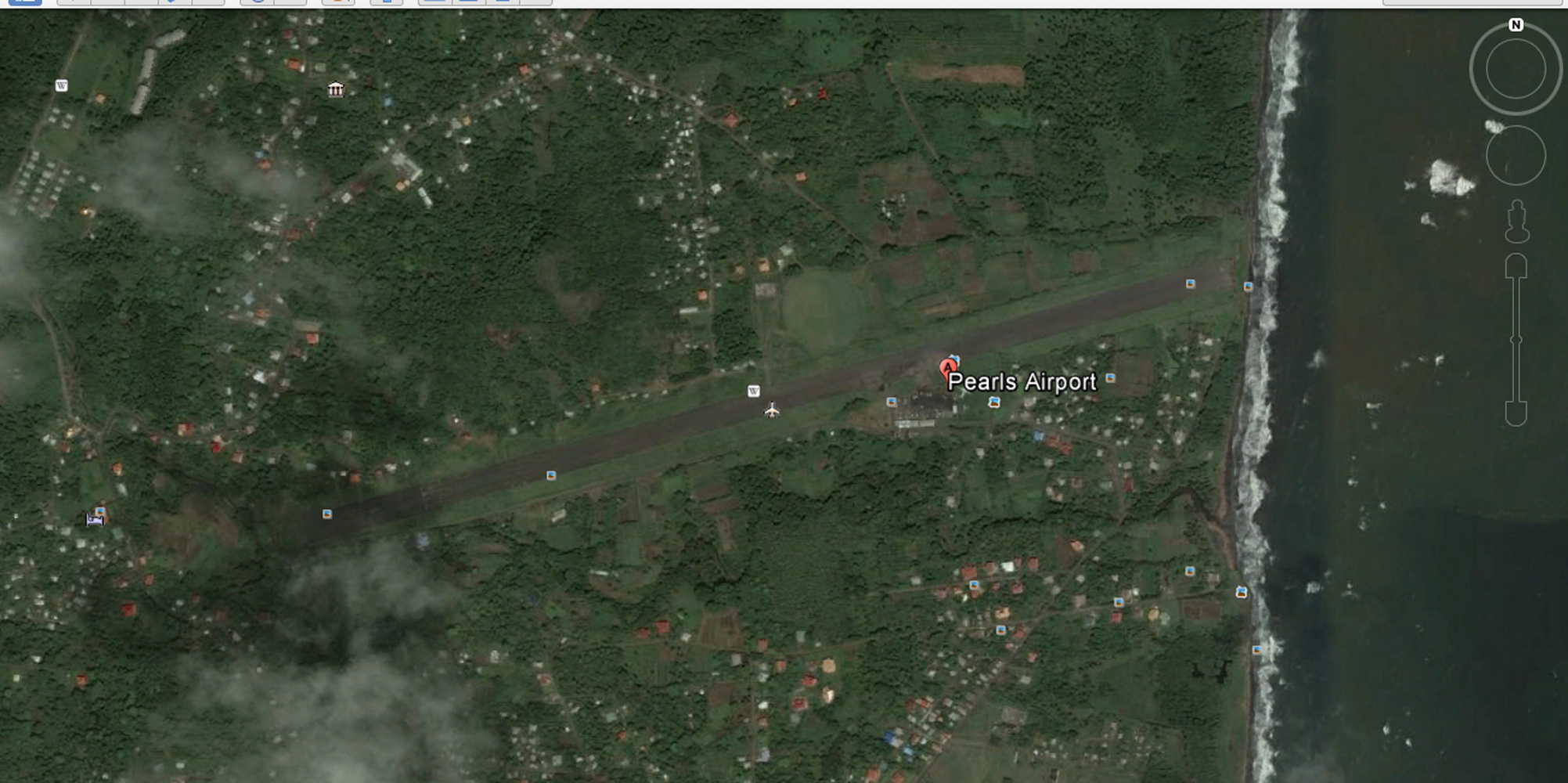 Pearls Airport, Granville, Grenada. Image: Google Earth