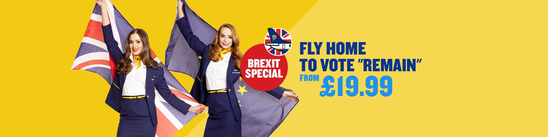 Ryanair Fly Home To Vote advertisement. Image; Ryanair
