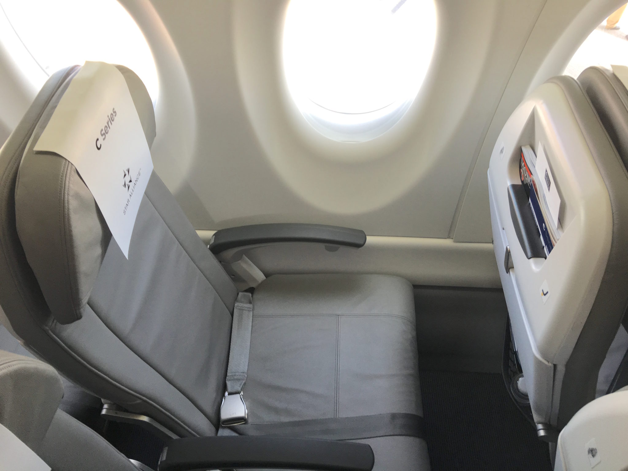 The CSeries' wide seats won't mean that Swiss feels it necessary to add a seatmate on the port side in business. Image: John Walton