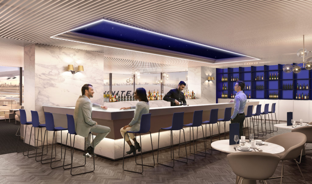 United Polaris business class lounge bar