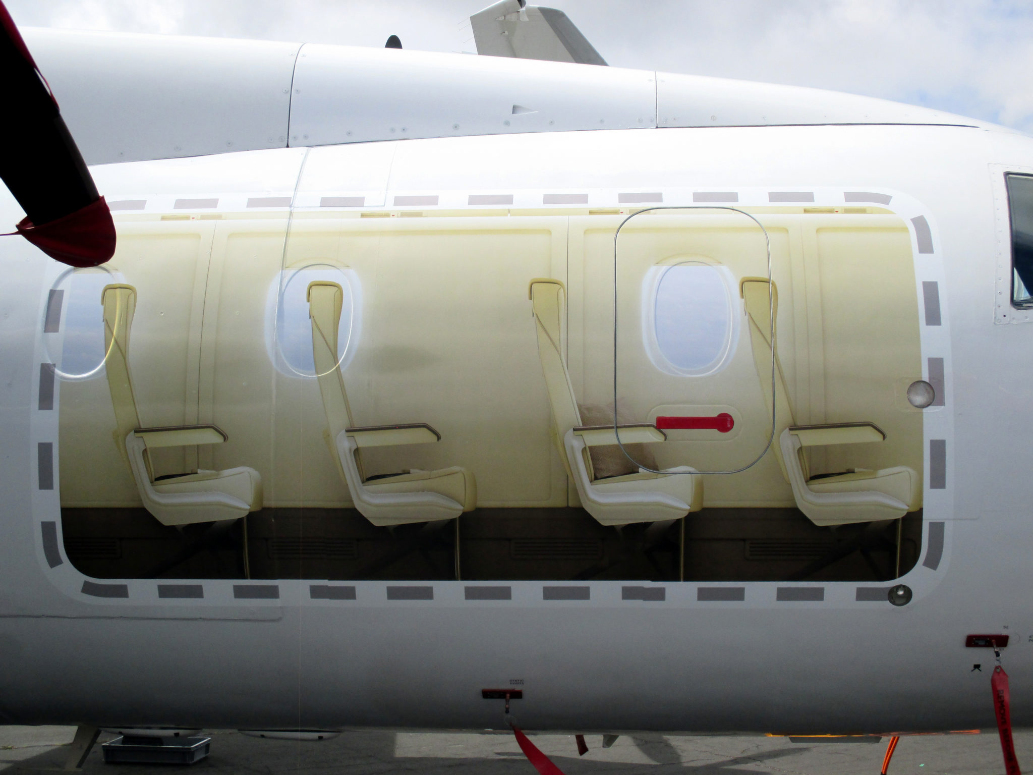 The forward right decal gave a look into the 328 in regional airliner configuration, with 32 seats. Image: Paul Eden