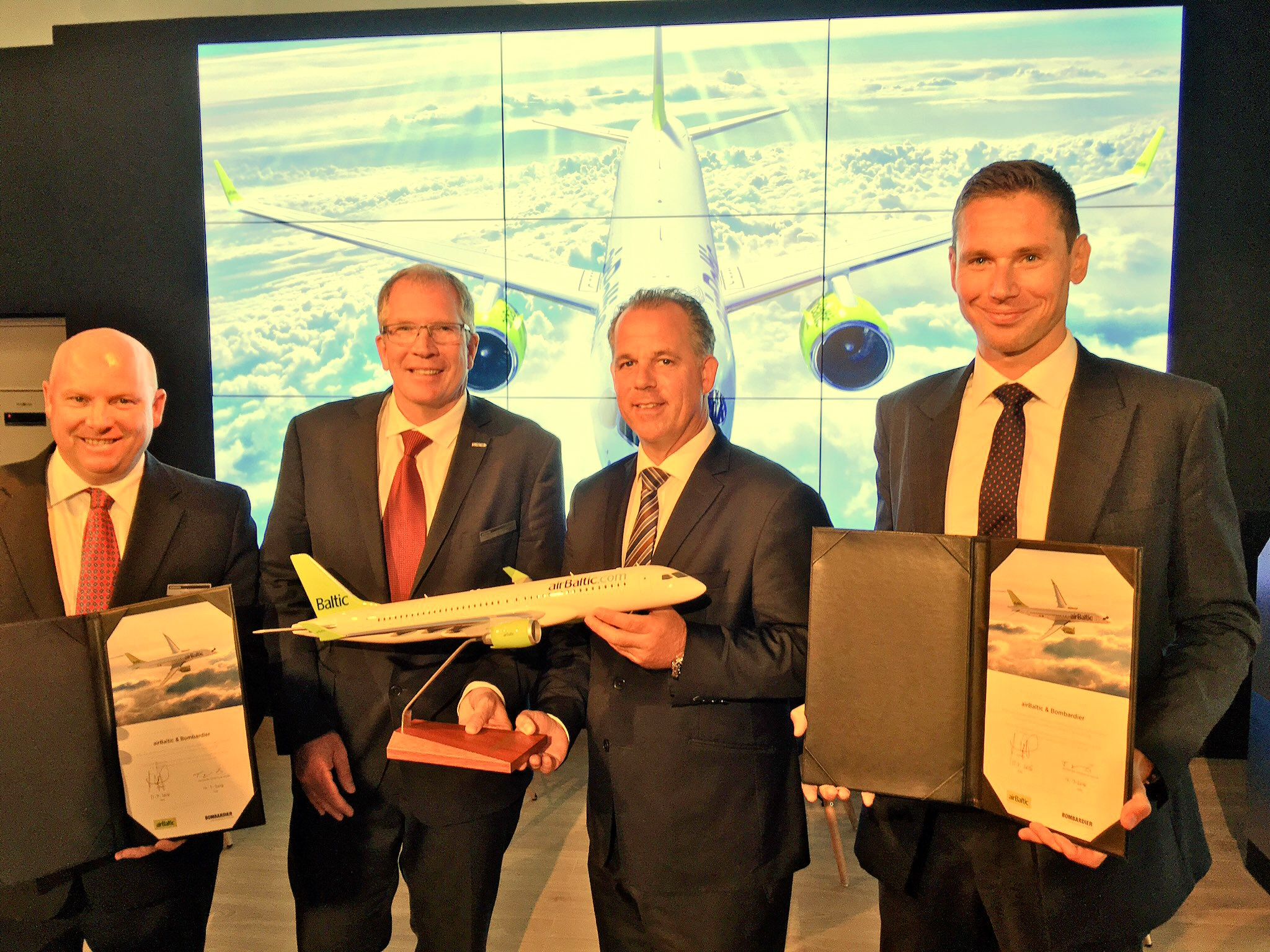 Bombardier and airBaltic sounded delighted with the prospect of CSeries deliveries starting later this year. Image: John Walton