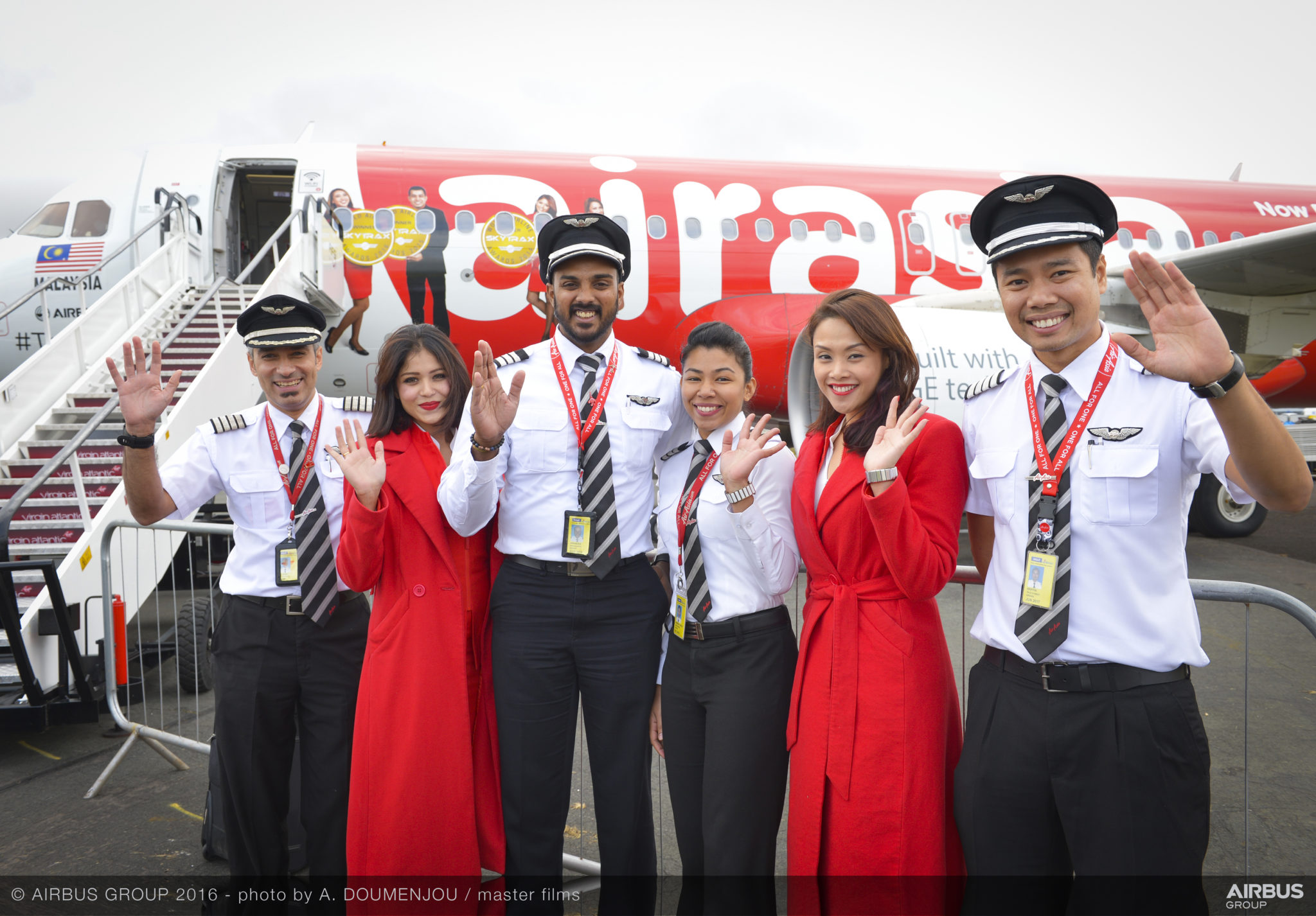 Four AirAsia pilots flew in with a static display plane for the air show this week. Image: Airbus