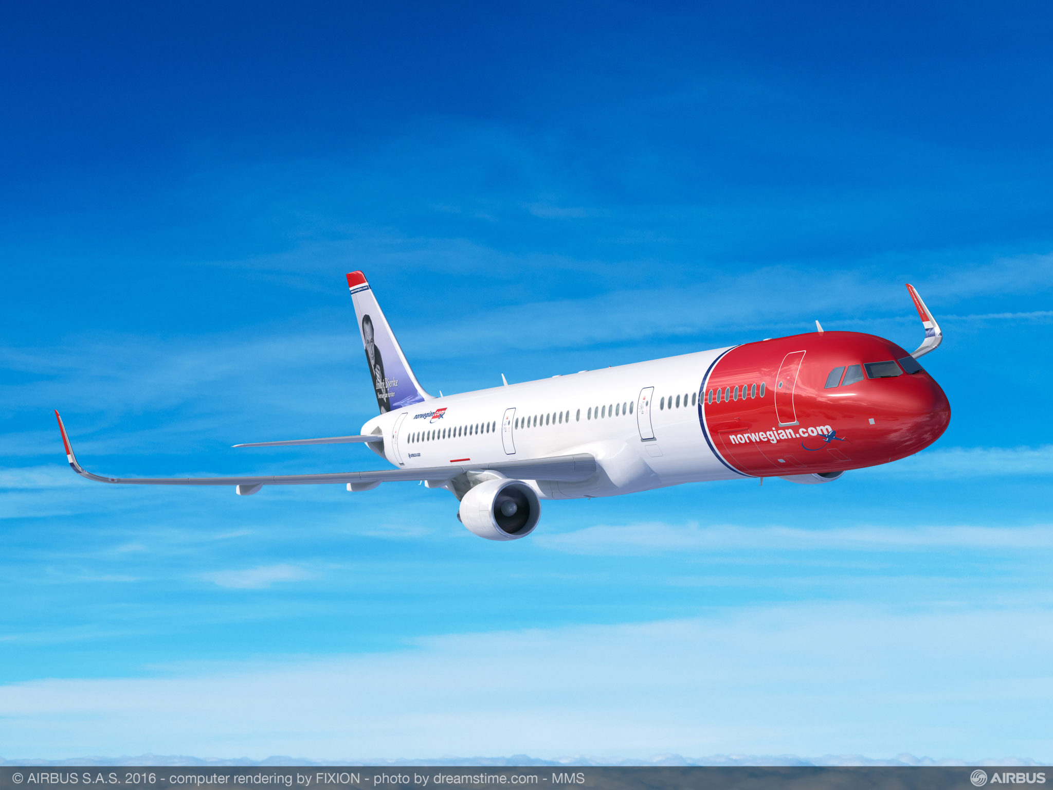 Norwegian upgraded some of its A320neo order to the 757 replacement A321LR. Image: Airbus