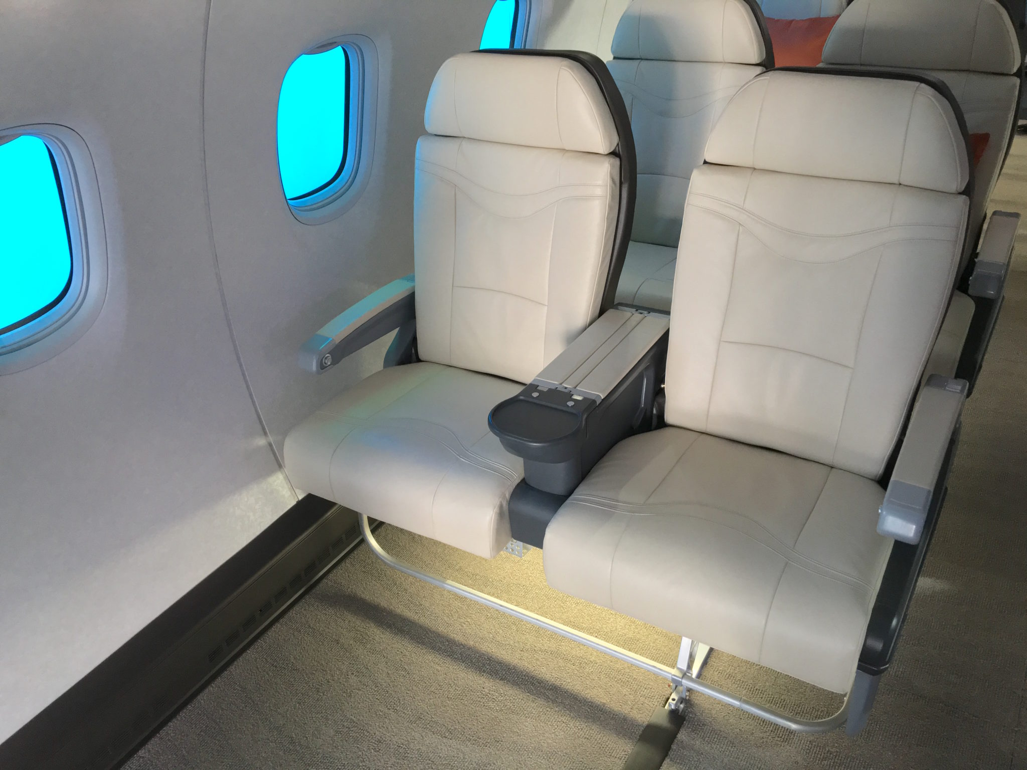 The MRJ's 2-1 seats are comparatively wide, although the relatively spaced out windows may not be ideal. Image: John Walton