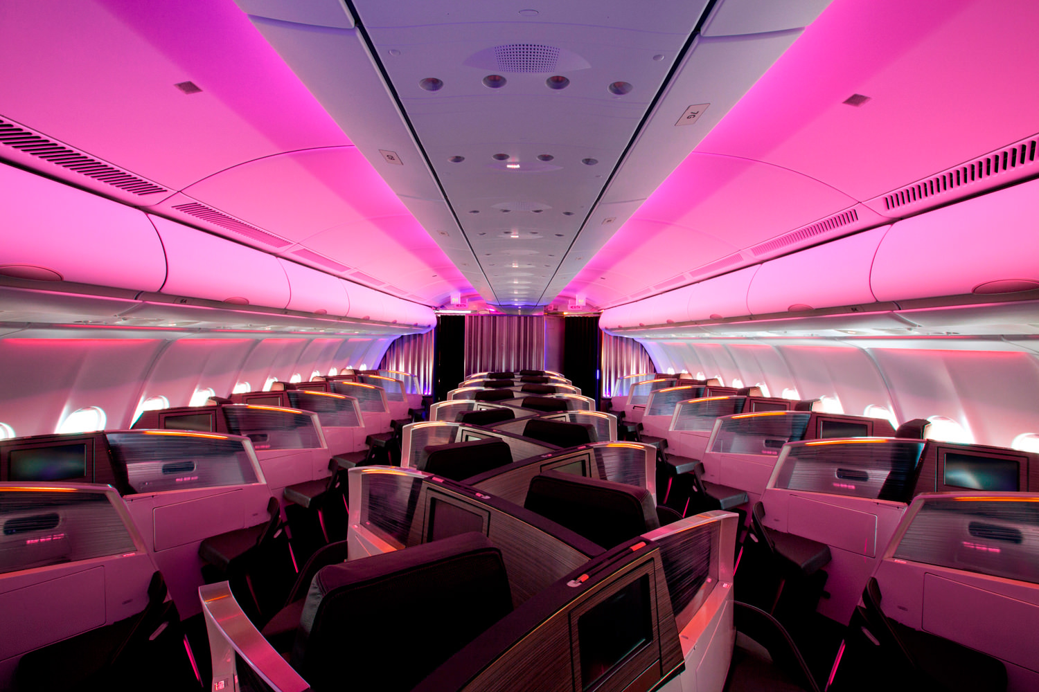 Virgin's Dream Suite staggered layout adds density to the A330 seats, but isn't popular. Image: Virgin Atlantic